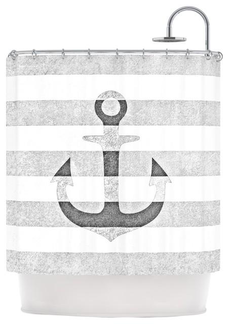 Monika Strigel Stone Vintage Anchor Gray White Shower Curtain