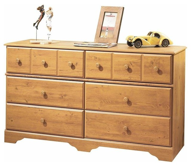 6-Drawer Double Dresser, Country Pine Finish.