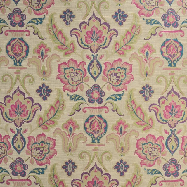 Orchid Green Pink Purple Floral Damask Upholstery Fabric