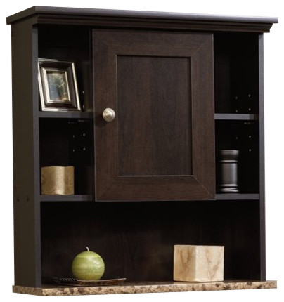 Sauder Sauder Peppercorn Wall Cabinet In Cinnamon Cherry View In Your Room Houzz