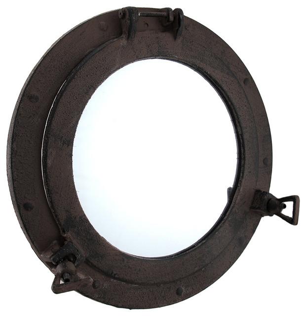 "Distressed Rusty Finish Ship Porthole Mirror 11 1/2"". -1"