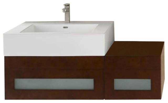 ronborebecca 50 wall mount vanity set dark cherry left or right side sink contemporary. Black Bedroom Furniture Sets. Home Design Ideas
