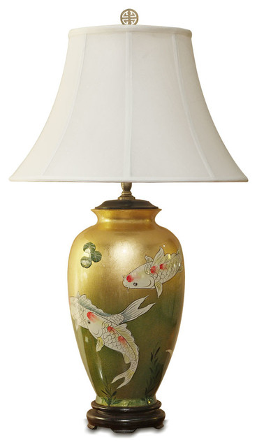 China Furniture And Arts Gold Leaf Koi Fish Lamp With