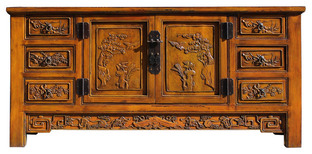 Chinese Distressed Mustard Yellow Carving Motif Low TV Console Table Cabinet  Asian Buffets And