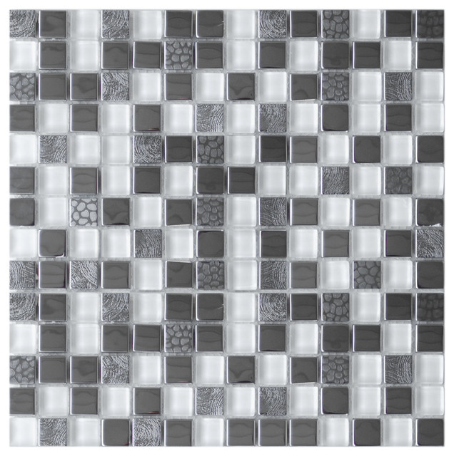 Square Mixed Steel Tile with White Glass and Textured ...