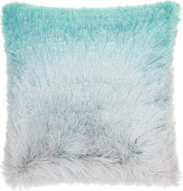 "20""x20"" Mina Victory Illusion Shag Throw Pillow, Turquoise/silver."