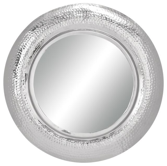 Chrome Wall Mirror modern metal frame round wall mirror silver chrome decor 23901