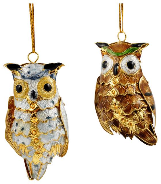 Owl Christmas Ornament Part - 33: Cloisonne Owl Ornaments, Set Of 2 Traditional-christmas-ornaments