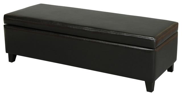 Stratford Black Leather Storage Ottoman Bench Midcentury Accent