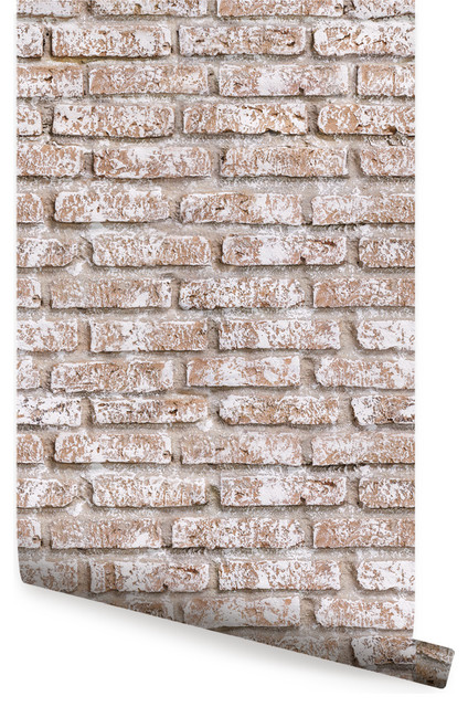 Whitewashed Vintage Brick Peel And Stick Wallpaper 24 X48