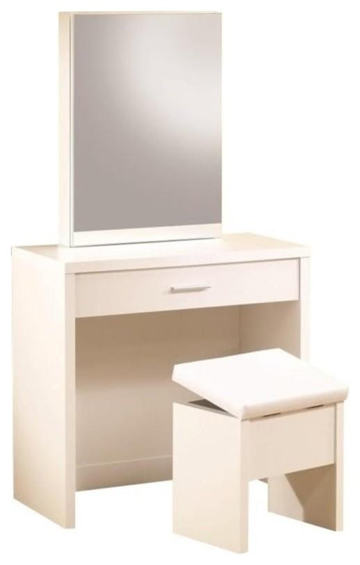 Pemberly Row 2 Piece Bedroom Vanity Set with Hidden Mirror Storage