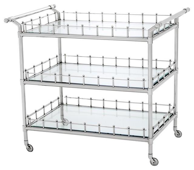 Eichholtz Scarlett Bar Cart, Nickel