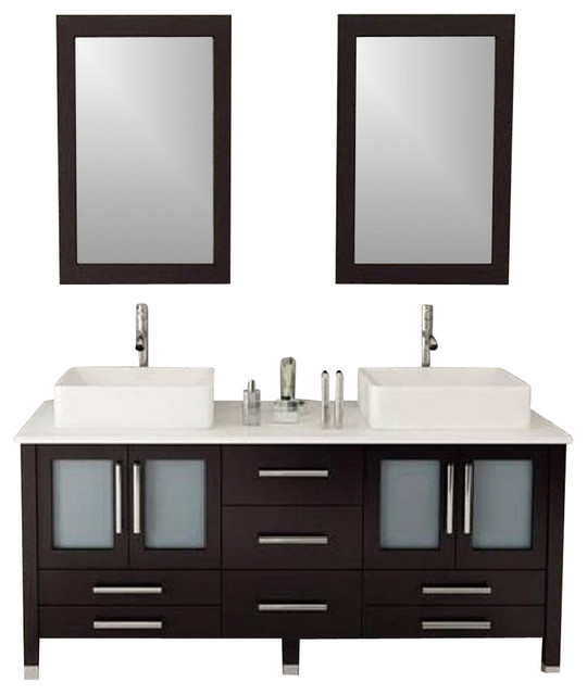 """Double Vanity Cabinet With Mirror And Faucet, 72""""."""