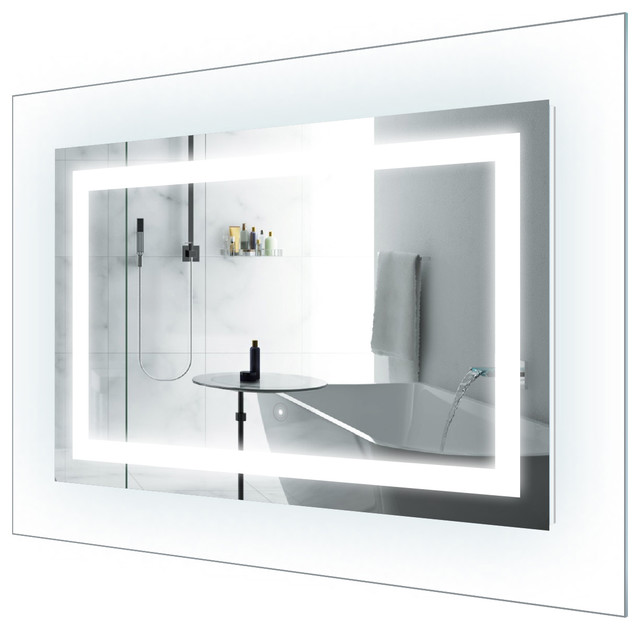 Led Lighted 42 X30 Bathroom Mirror With Glass Frame Modern Bathroom Mirrors By Krugg Reflections Houzz