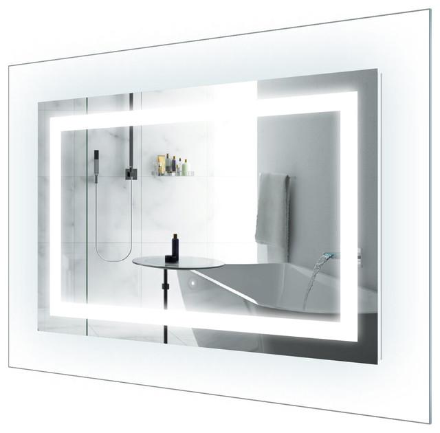Led Lighted Bathroom Mirror With Glass Frame 42 X30 Modern
