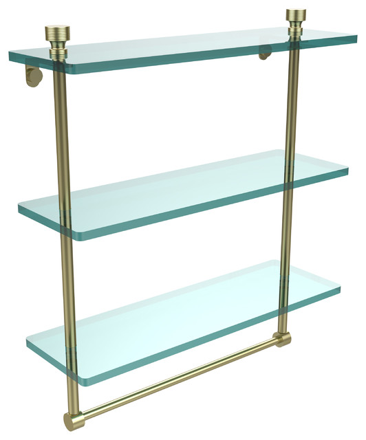 "16"" Triple Glass Shelf With Towel Bar, Satin Brass."