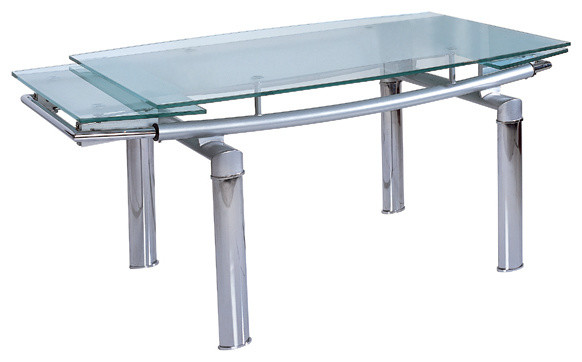 Roberto Extendable Glass Top Dining Table.