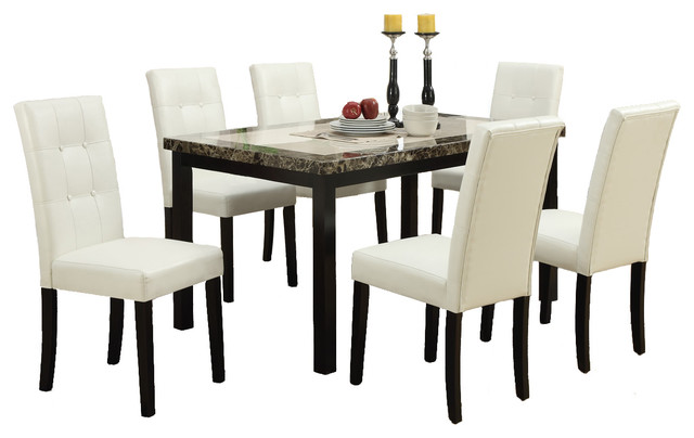 7 Piece 2 Tone Dining Set, Marble Stle Table Top With Cream