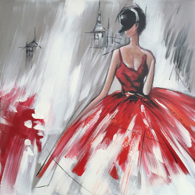 abstract hand painted dancing girl in red dress ii oil painting - contemporary - paintings