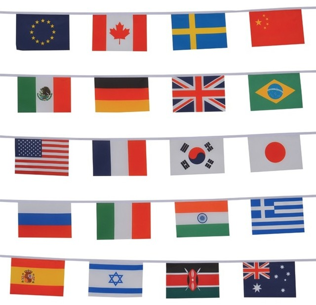 8b701155303e String of 20 International Flags - Traditional - Flags And Flagpoles - by  In the Breeze