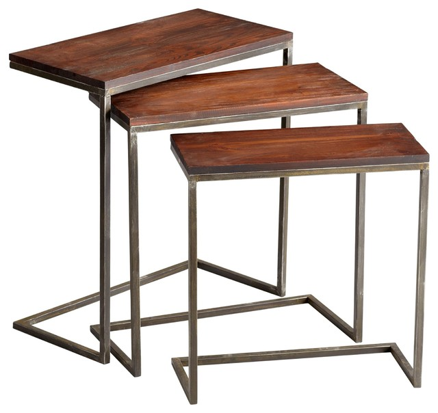 Cyan Design Jules Nesting Tables, Walnut and Graphite