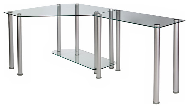 Clear Tempered Glass Corner Computer Desk, Clear, 38\