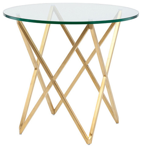 Lattice Glass Side Table By Nuevo, Brushed Gold Stainless Steel