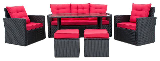 af2a90e6d810 6-Piece Wicker Set Outdoor Lounge Furniture Dining Table Sofa Set, Black/Red