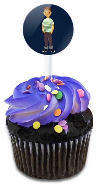 Little Boy Cartoon Cupcake Toppers Picks Set.