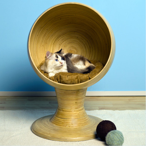 The Refined Feline Kitty Ball Bed, Bamboo