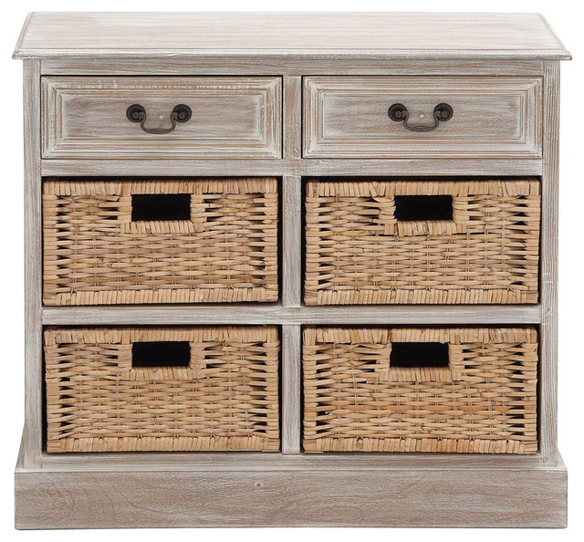 Charmant Traditional Inspired Style The Rural Wood 4 Basket Chest Home Decor