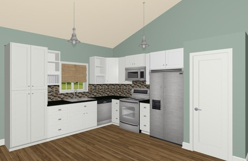 What type of island will fit into this l shaped kitchen - Behr kitchen paint ...