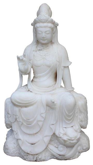 Chinese White Marble Stone Sitting Kwan Yin Tara Bodhisattva Statue Cs2397 Asian Garden Statues And Yard Art By Golden Lotus Antiques