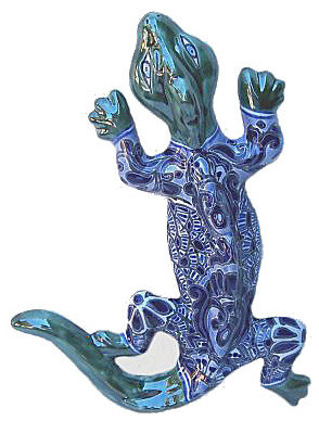 Medium Blue/White Garden Ceramic Lizard - Southwestern - Decorative