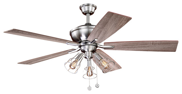 Clybourn 52 Ceiling Fan, Satin Nickel With Driftwood-Walnut Blades.