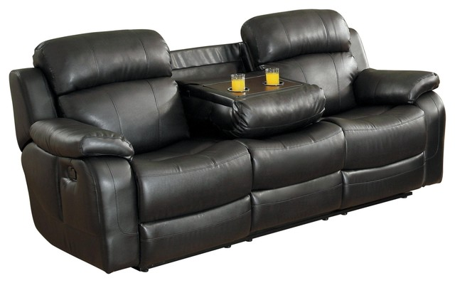 Manque Double Reclining Sofa with Drop-Down Cup Holder Black Leather
