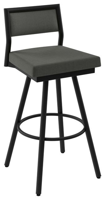 Terrific Amisco Jacob Swivel Stool Black Charcoal Grey Polyester Counter Height Gmtry Best Dining Table And Chair Ideas Images Gmtryco