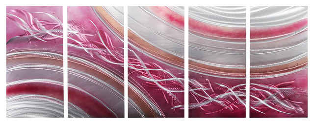 C Blush Pink Silver Abstract Metal Painting And Modern Wall Sculptur