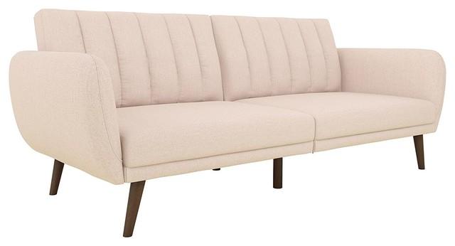 Modern Sofa Futon, Premium Linen Upholstery And Wooden Legs, Pink.