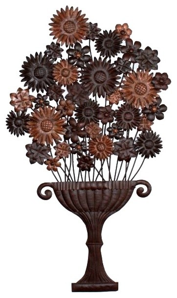 Tuscan Antique Brown Iron And Tole Flower Urn Wall Plaque