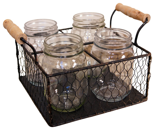 4 Compartment Wire Metal Basket With Mason Jars Rustic
