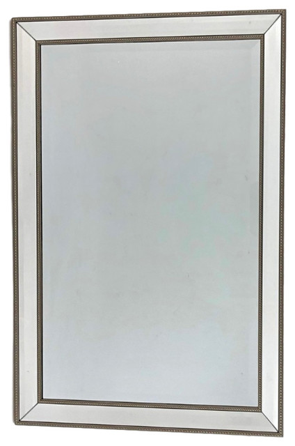 Triple Beveled Beads Wall Mirror, Antique Bronze.