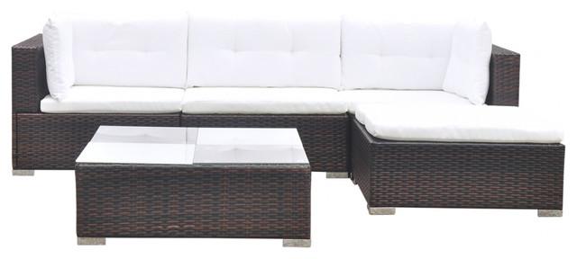 Vidaxl Garden Sofa Set 14 Pieces Wicker Poly Rattan Brown Outdoor Lounge Seat
