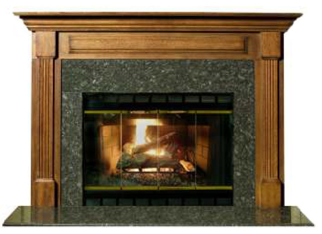"""Stately Cherry Finished 42"""" Birmingham Fireplace Mantel, Red Cherry."""