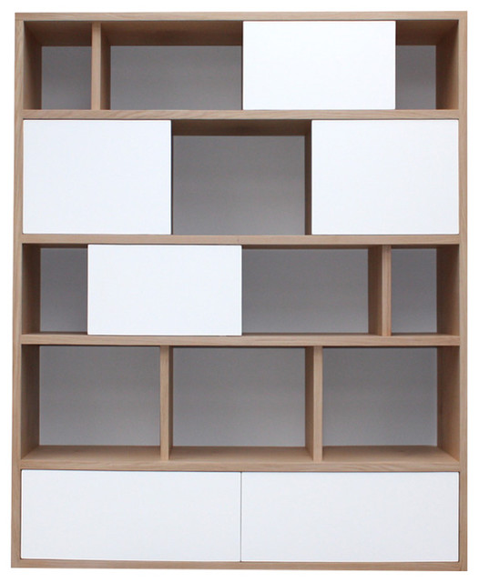 Benodet Bookcase, White and Grey