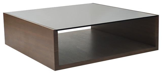 Contemporary Coffee Table With Walnut Veneer And Smoke Glass Top Contemporary Coffee Tables By Rotsen Furniture
