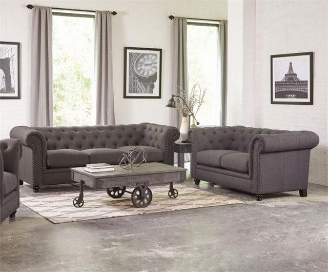 Roy 2Piece Button Tufted Sofa Set Transitional Living Room