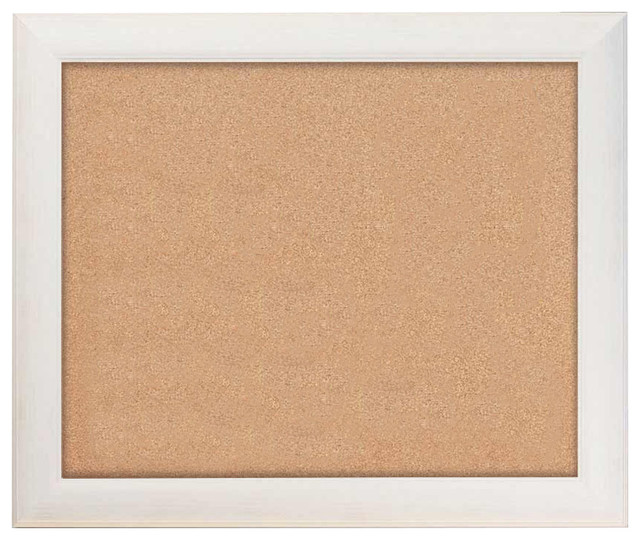 """Cork Boards 36""""x30"""", Weston Driftwood White Frame With Natural Cork Surface"""