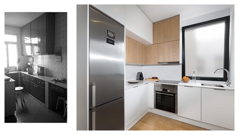 Vista de la cocina, antes y después