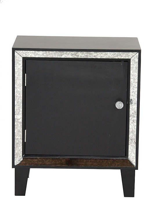 Wood Accent Cabinet With Door and Mirrored Glass, Black